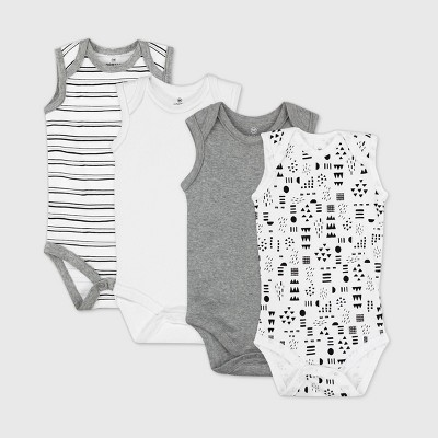 Honest Baby Baby 4pk Pattern Play Organic Cotton Sleeveless Bodysuit - White/Black 6M