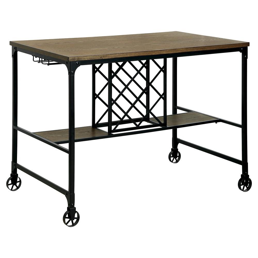 ioHomes Olsen Industrial Wine Rack Counter Height Table - Medium Oak, Warm Oak