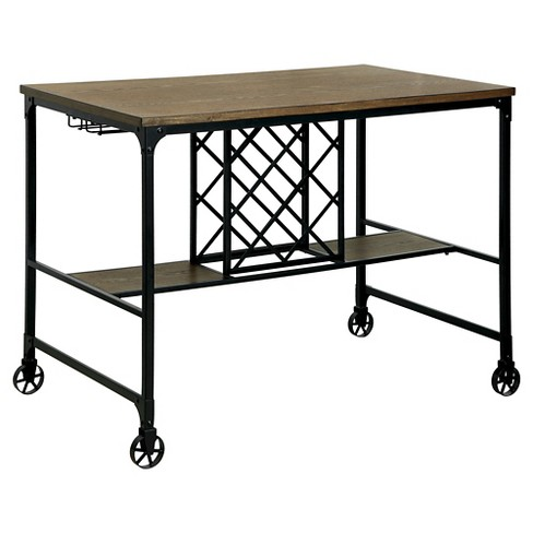 ioHomes Olsen Industrial Wine Rack Counter Height Table - Medium Oak - image 1 of 3