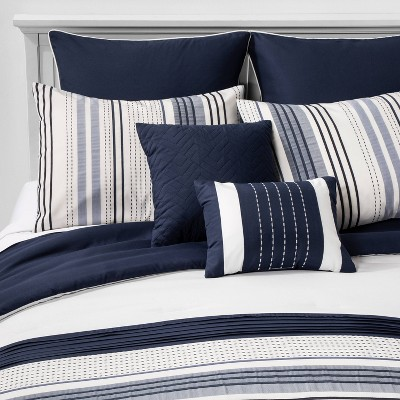 King Allen Stripe Comforter Set Navy - Hallmart Collectibles