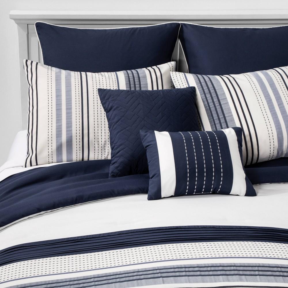 Image of King Allen Stripe Comforter Set Navy - Hallmart Collectibles