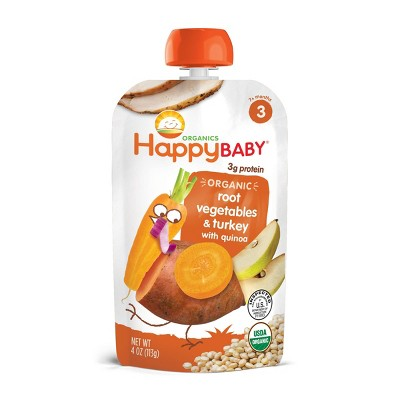 HappyBaby Organic Root Vegetables & Turkey with Quinoa Baby Food Pouch - 4oz