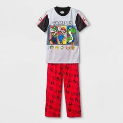 Boys' Super Mario 2pc Short Sleeve Pajama Set - Gray
