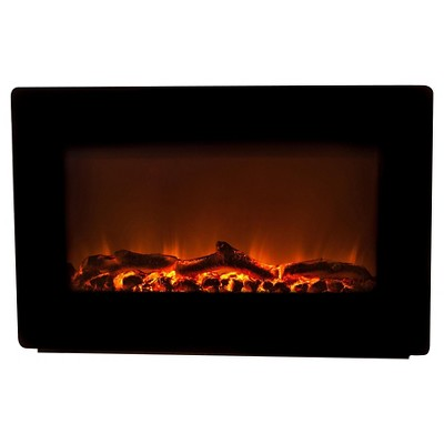 Fire Sense Wall Mounted Electric Indoor Fireplace Black