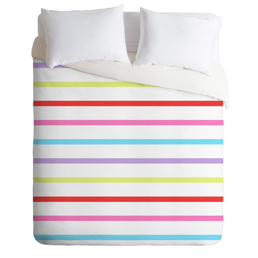 King Kelly Haines Pop of Color Stripes Duvet Cover Set - Deny Designs, Multicolored