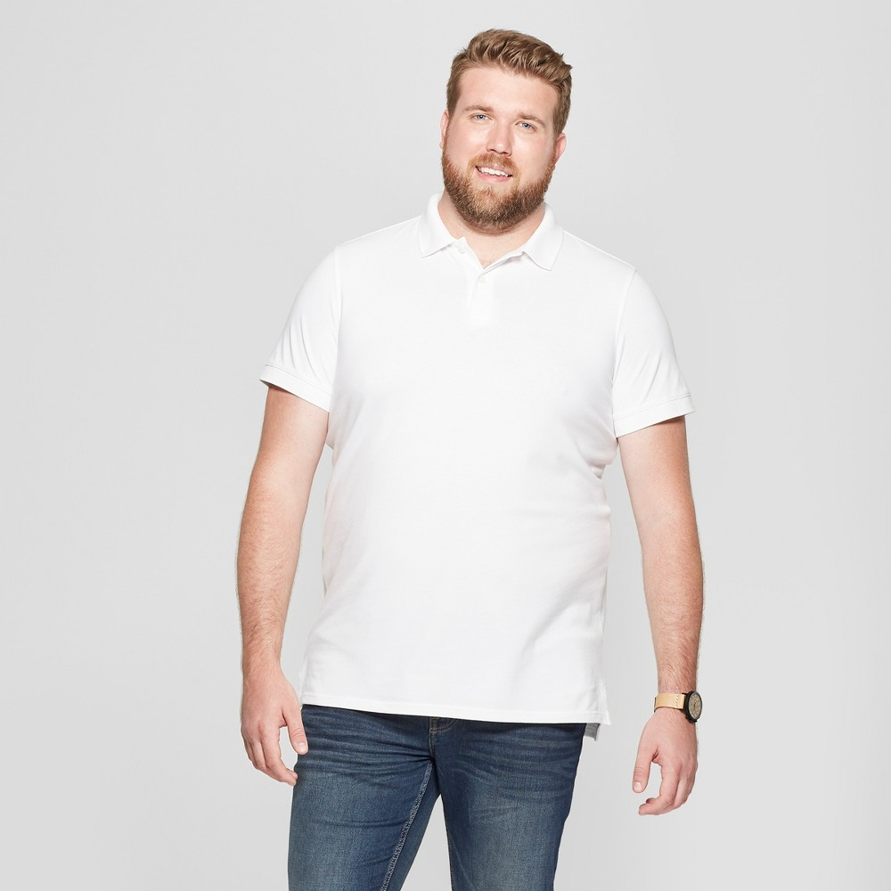 Men's Tall Short Sleeve Loring Polo T-Shirt - Goodfellow & Co True White Opaque MT