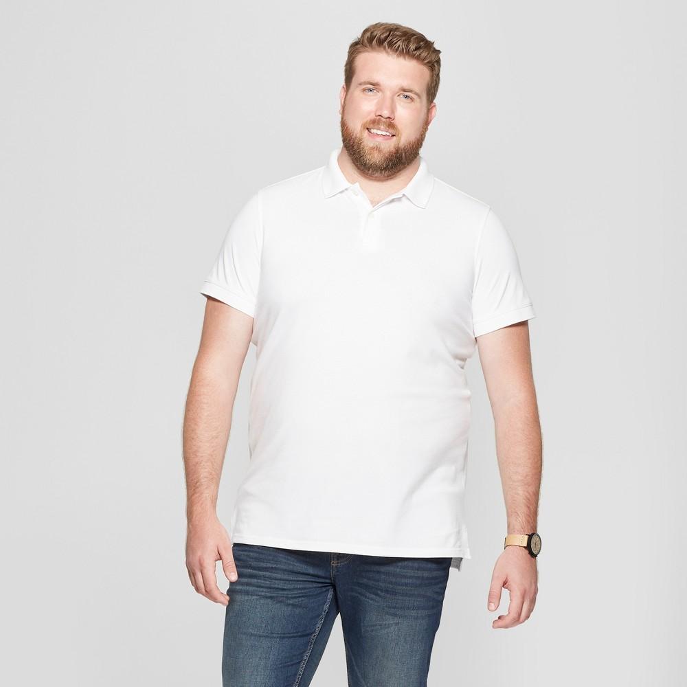 Men's Tall Short Sleeve Loring Polo T-Shirt - Goodfellow & Co True White Opaque LT