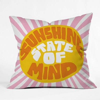 "16""x16"" Sunshine Vibes Throw Pillow Yellow - Deny Designs"