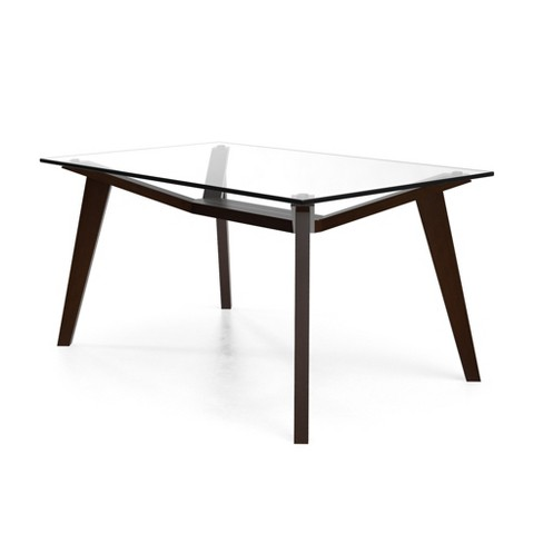 Lavinia Rectangular Dining Table with Glass Top Coffee - Aeon - image 1 of 4