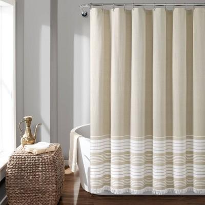 Nantucket Yarn Dyed Cotton Tassel Fringe Shower Curtain   Lush Decor by Lush Decor
