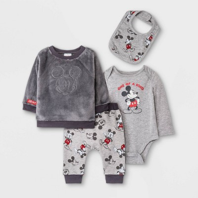 Baby Boys' 4pc Mickey Mouse Long Sleeve Fleece Pullover and Jogger Set - Gray