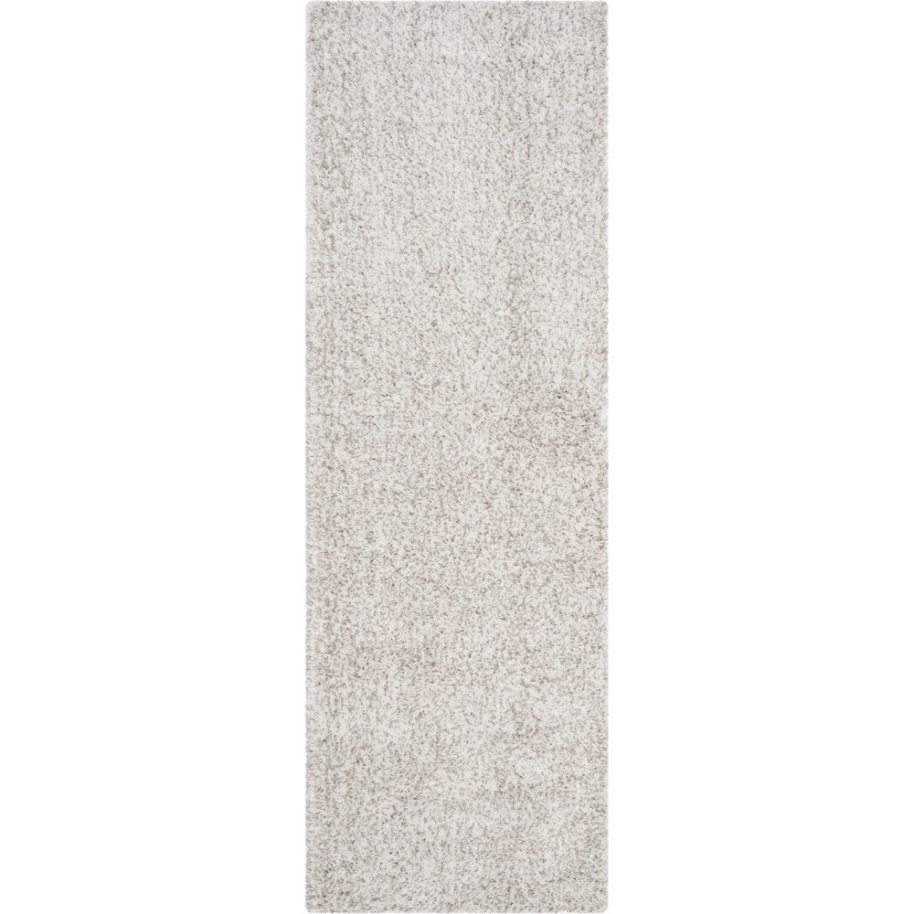 2'3X9' Solid Loomed Runner White/Light Gray - Safavieh