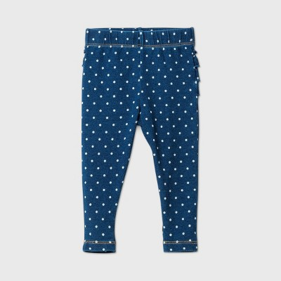 Baby Girls' Ruffle Bum Dot Long Denim - Cat & Jack™ Washed Indigo 3-6M
