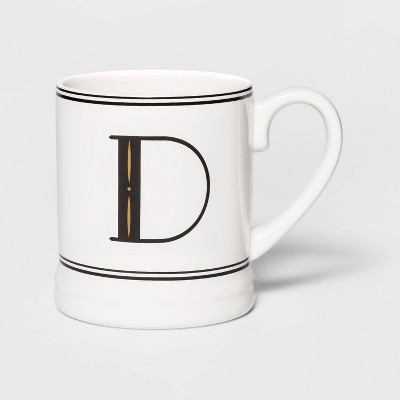 16oz Stoneware Monogram Mug Cream D - Threshold™