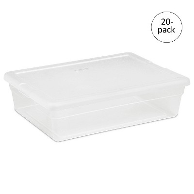 Sterilite Single Lidded 28 Quart Clear Storage Tote Container 1655 (20 Pack)