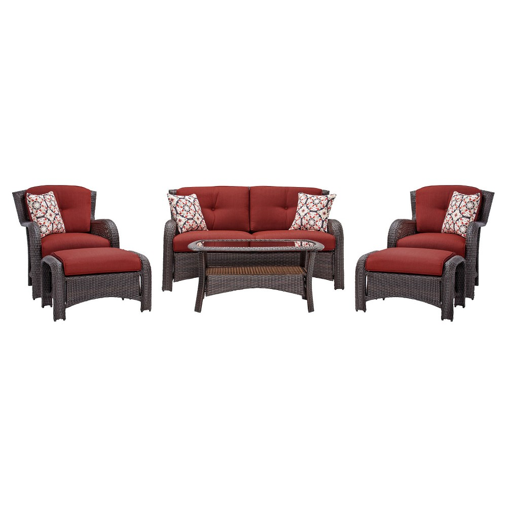 Image of Corolla 6pc All-Weather Wicker Patio Conversation Set - Red - Cambridge