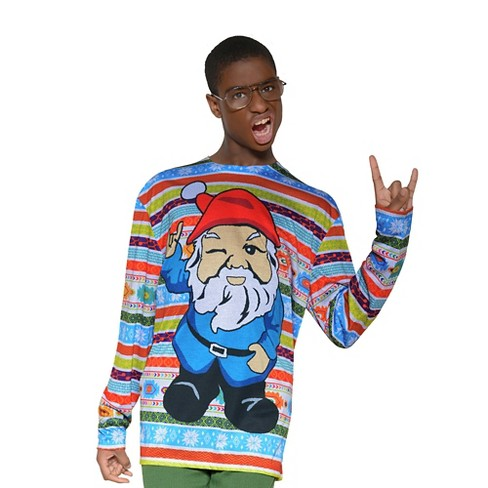 Men's Costume Ugly Christmas Sweater Gnome, Long Sleeve Tee - image 1 of 1