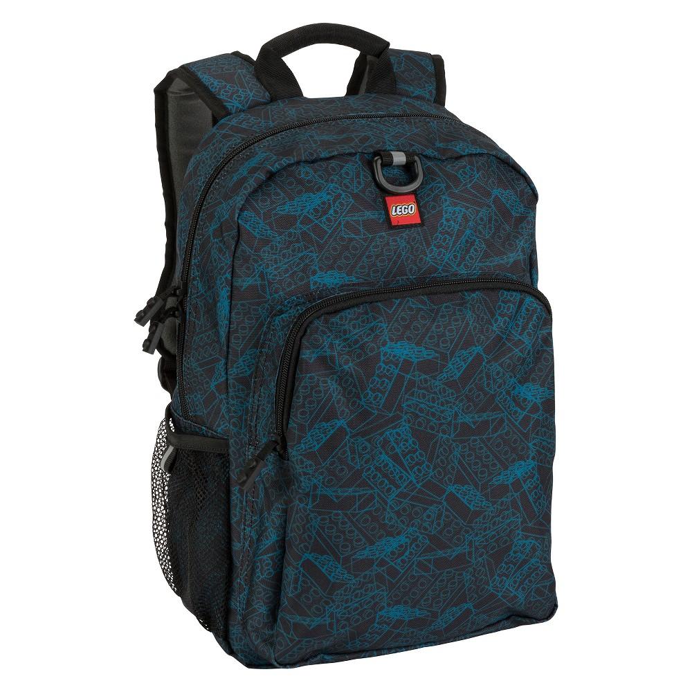 "Image of ""LEGO 16"""" Heritage Classic Kids' Backpack - Blue Print, Black"""