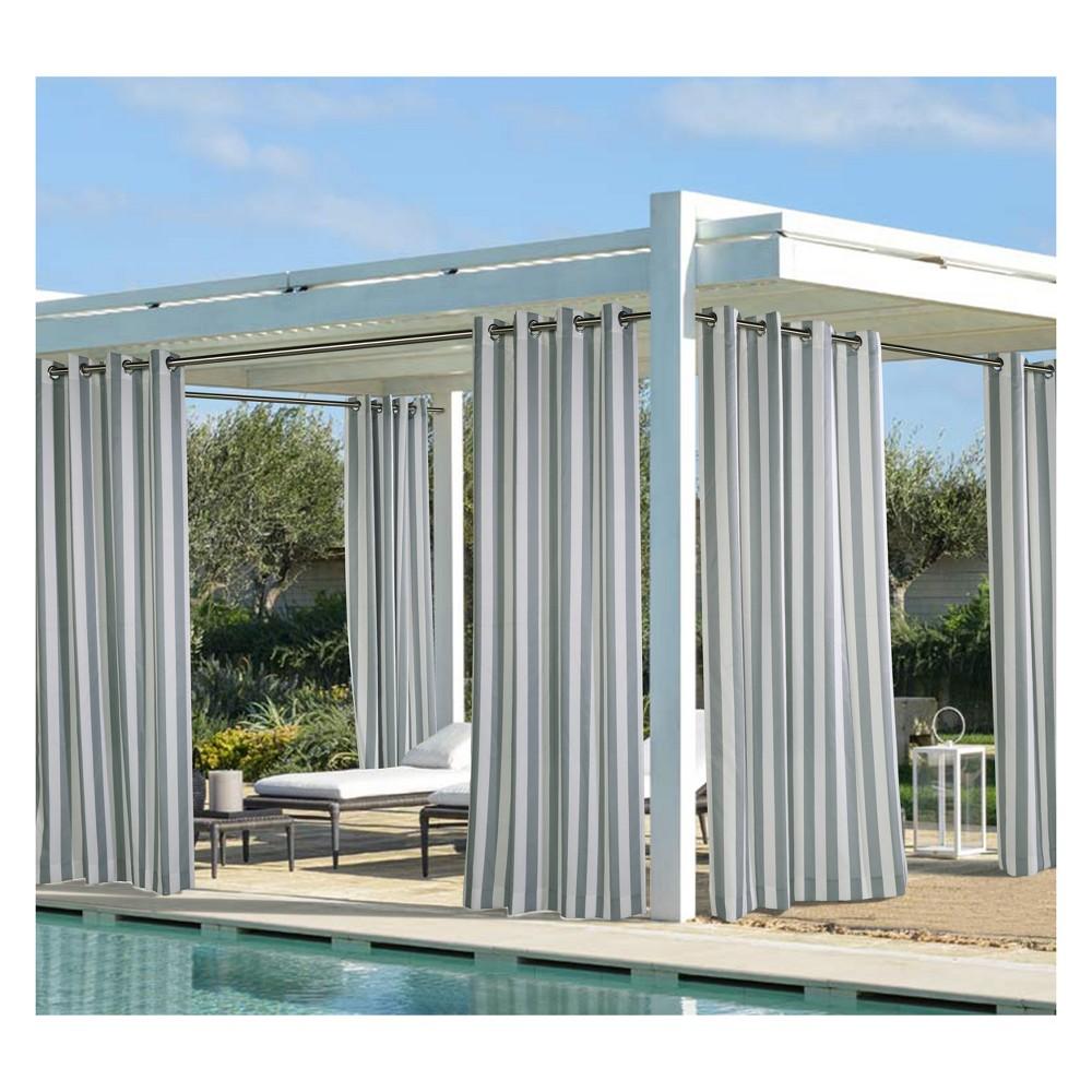 """Image of """"50""""""""x108"""""""" Coastal Printed Stripe Grommet Top Indoor/Outdoor Blackout Curtain Panel Dark Gray - Outdoor Décor"""""""