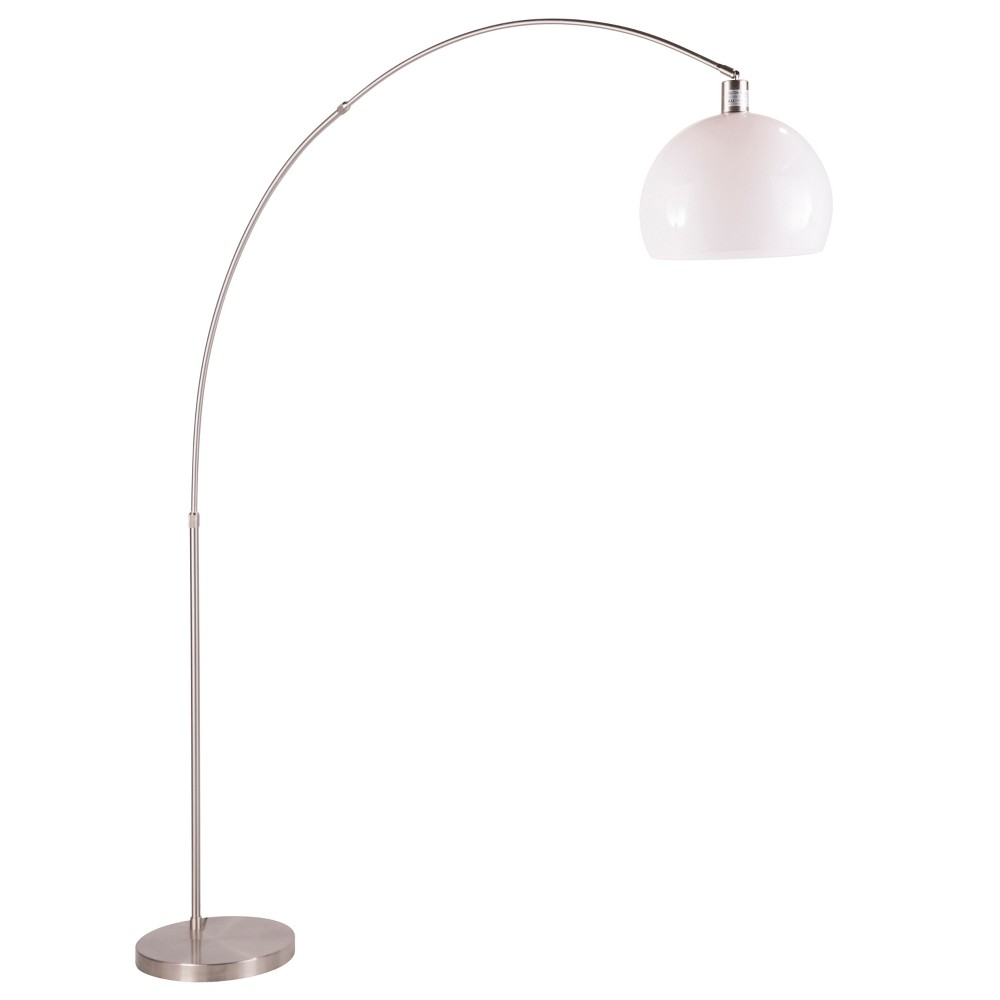 Image of Decco Modern Arched Floor Lamp Satin Nickel with White Shade (Lamp Only) - Lumisource, Brushed Nickel