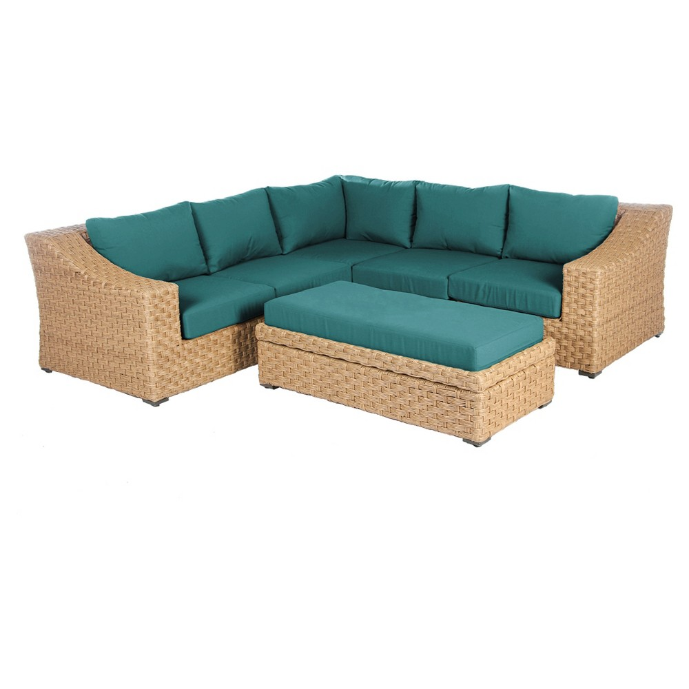 Elizabeth 6pc All-Weather Wicker Patio Sectional Seating Set - Spectrum Peacock - AE Outdoor