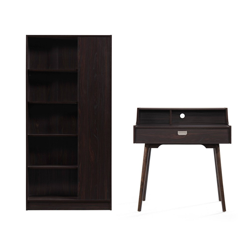 Image of 2Pc Ellison Mid Century Modern Home Office Set Walnut - Christopher Knight Home, Brown