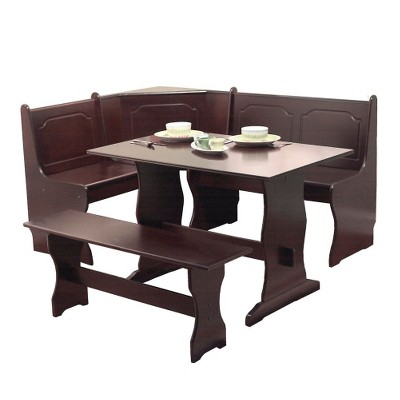 Beau 3 Piece Nook Dining Set Wood/Espresso   TMS : Target