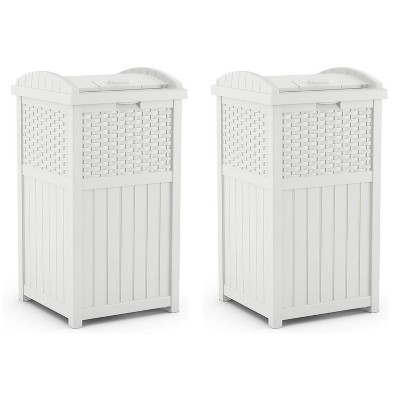 Suncast Wicker Resin Outdoor Hideaway Trash Can Bin with Latching Lid for Use in Backyard, Deck, or Patio, White (2 Pack)