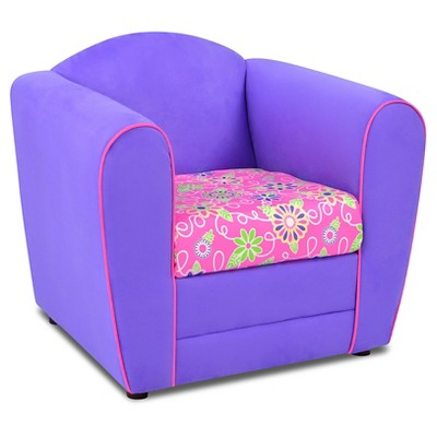 Tween Upholstered Chair - Welt Cord Trim - Plum With Daisy Doodle & Passion Pink - Kangaroo Trading Co.