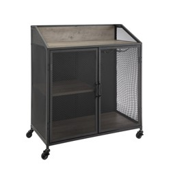 """33"""" Industrial Bar Cabinet with Mesh - Saracina Home"""