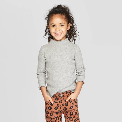 394d8aa8e Toddler Girls' Long Sleeve Rib Knit Mock Neck T-Shirt - Art Class™ Gray 3T  : Target