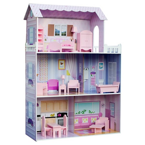 Teamson Kids Fancy Mansion Doll House With 13pcs Furniture - image 1 of 9