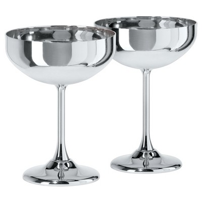 Oggi Stainless Steel Coupe Cocktail Glasses 10oz Silver - Set of 2