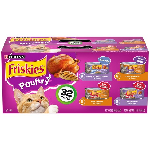 Purina Friskies Shreds, Meaty Bits & Prime Filets Poultry Wet Cat Food - 5.5oz/32ct Variety Pack - image 1 of 4
