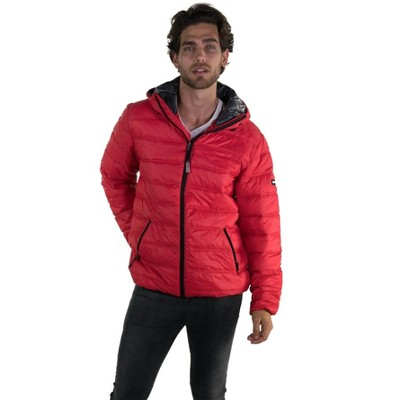 Members Only Mens Zip Front Puffer Jacket with Hood