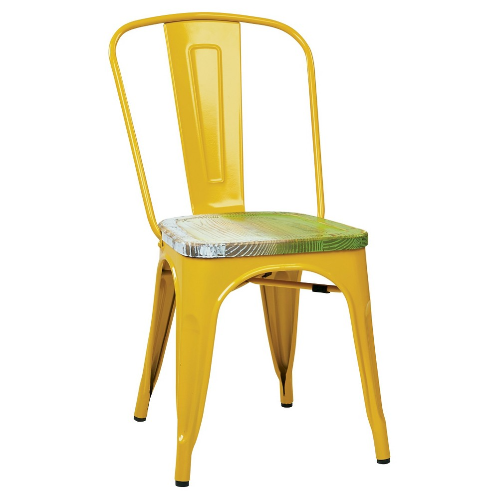 Set of 2 Bristow Metal Chair with Vintage Distressed Wood Seat Yellow - Osp Home Furnishings