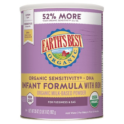 Earth's Best Organic Sensitivity Infant Formula with Iron Powder - 35oz