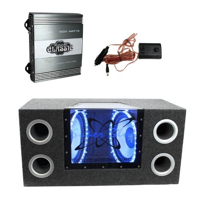 """Pyramid BNPS102 10"""" 1000W 4-Ohm Subwoofer Sub Bandpass System with Neon Accent Lighting and Pyramid PB715X 1000W 2-Channel 4-Ohm RCA Amplifier Amp"""