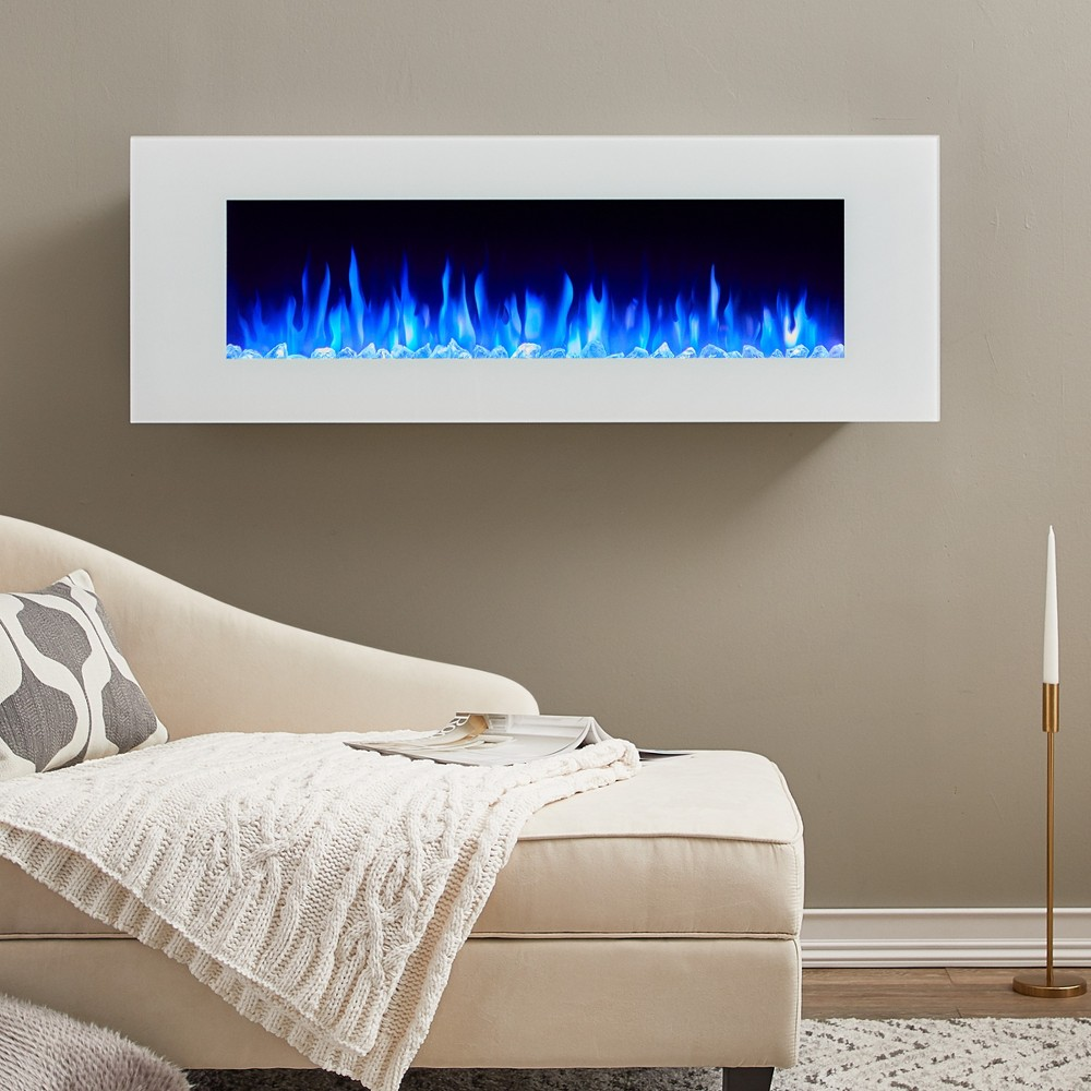 Dinatale Wall Hanging Decorative Fireplace White - Real Flame