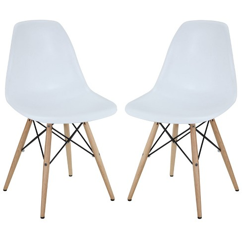 Set of 2 Pyramid Dining Side Chairs White - Modway - image 1 of 3