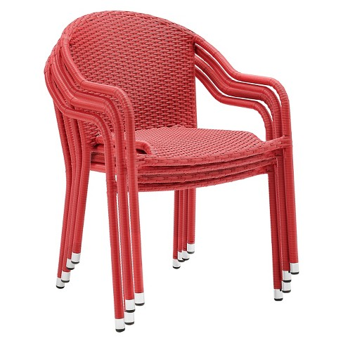 Crosley Palm Harbor Outdoor Wicker Stackable Chairs Set of 4 - Red - image 1 of 4