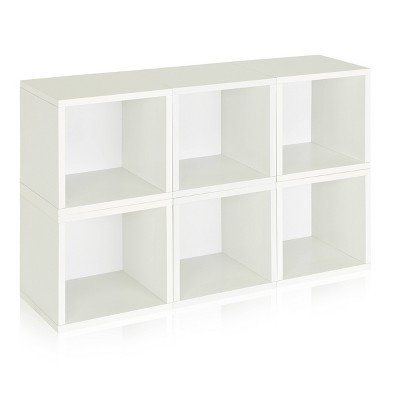 Way Basics 6-Cube Eco Stackable Storage Cubby Organizer White
