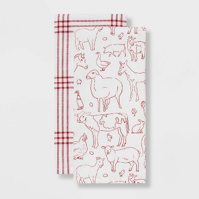 2pk Cotton Printed Kitchen Towels Red - Threshold™