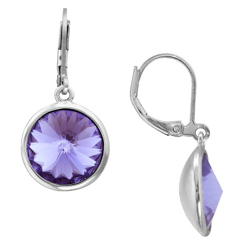 Silver Plated Tanzanite Crystal Round Dangle Earrings - 10mm - image 1 of 1