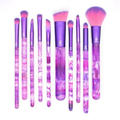 MODA Brush Purple Smoke Show 10pc Makeup Brush Bundle - Includes Angle Blender, Triad Eye, Flat Smudger, and Angle Liner Brushes