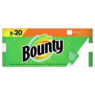 Bounty Paper Towels, White - 8 Doubles Plus Rolls - 20 Regular Rolls