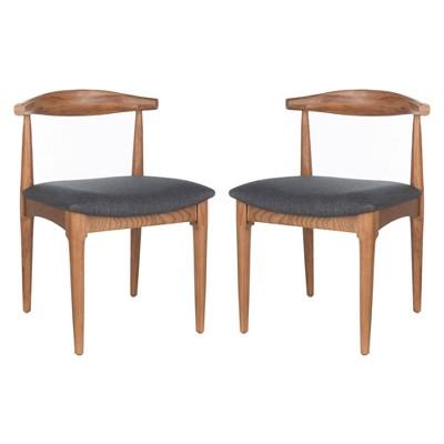 Set of 2 Lionel Retro Dining Chair Brown/Dark Gray - Safavieh