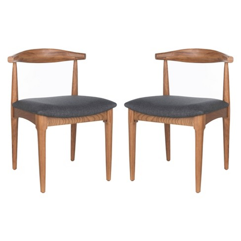 Set of 2 Lionel Retro Dining Chair Brown/Dark Gray - Safavieh - image 1 of 4