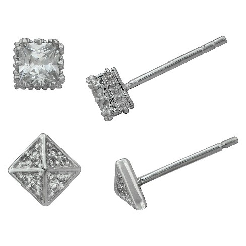 Women's Silver Plated 2 Pair-Cubic Zirconia Square Crown/Triangle Stud Earring Set-White - image 1 of 1