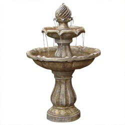 "35"" 2-Tier Outdoor Solar Water Fountain - Earth - Sunnydaze Decor"